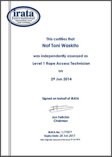 irata certificate